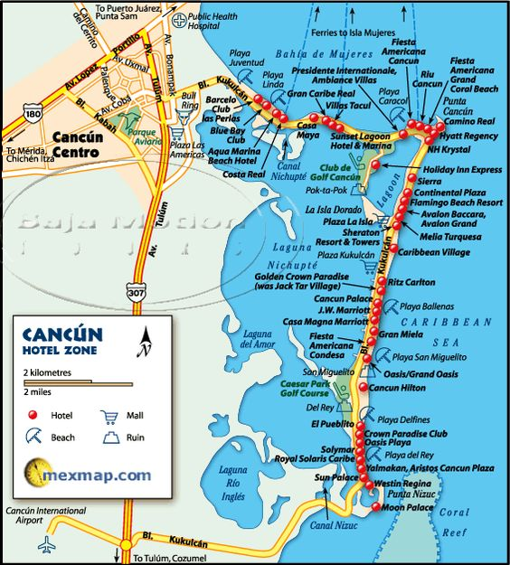 Cancun Mexico Hotel Map