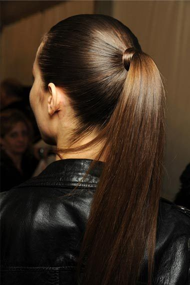 Perfect shiny brown hair: