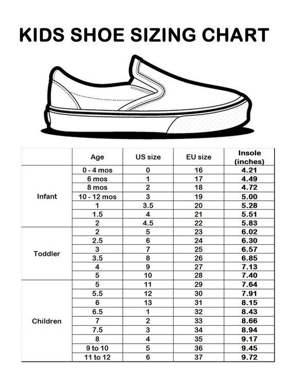 kids shoe size chart | Sizing Chart
