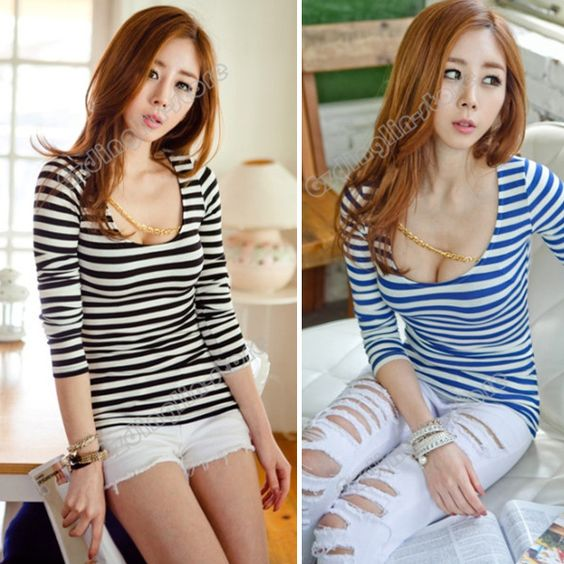 New Fashion Womens Clothing Long Sleeve Fashion Stripe Casual Sexy Cotton Blend Slim Top T-Shirt Size S Free Shipping 0727 $7.98