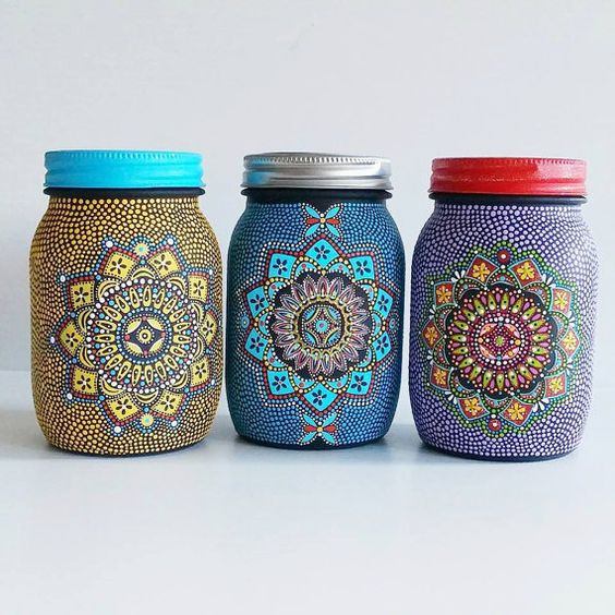 Hand painted yellow glass mason jar mandala glass jar for Can acrylic paint be used on glass bottles