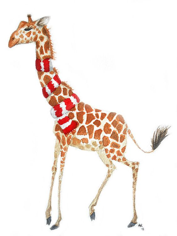 Original Scarf Giraffe Watercolour Painting by KAmyKrafts on Etsy, £25.00