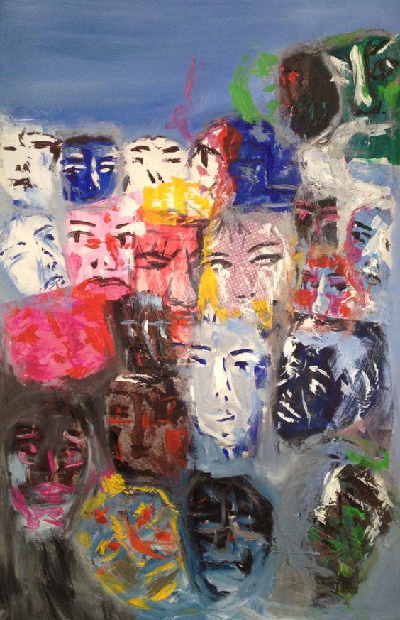 Ahora te puedo ver. Acrílico y Collage sobre lienzo.