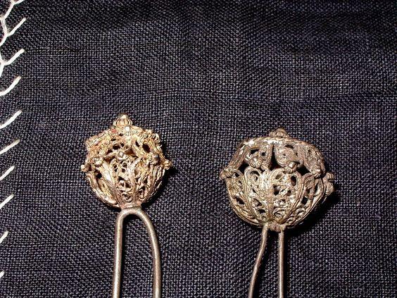 2x Trachten Haar Nadel antik Filigran echt Silber Kranerl Haube Biedermeier RAR | eBay