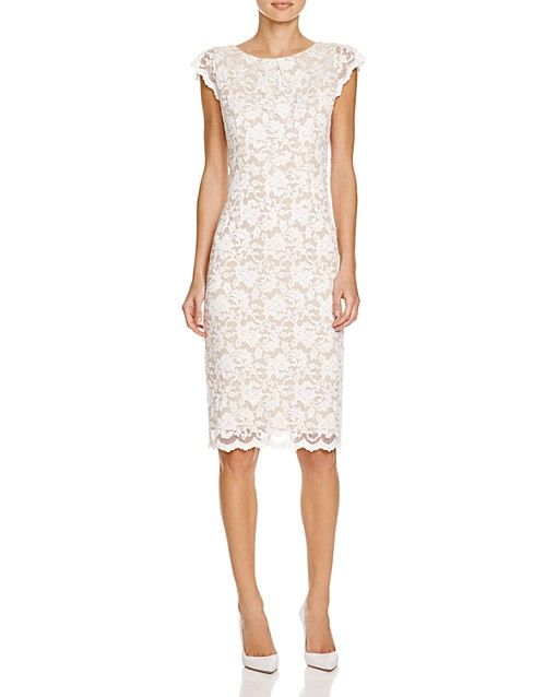 ABS by Allen Schwartz Cap Sleeve Lace Sheath Dress | Bloomingdale's