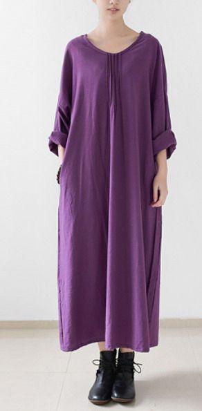 Purple cotton dresses fall long maxi dress