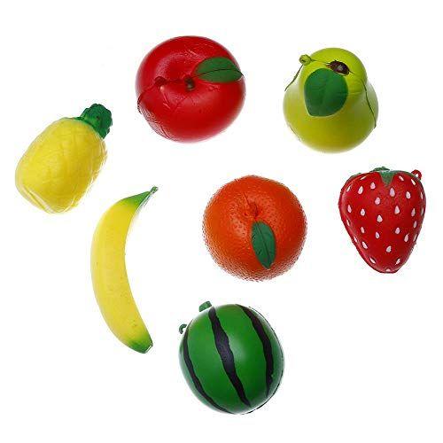 7 Pcs Fruit Squishies Set Slow Rising Stress Relief Pear Strawberry Orange Watermelon Pineapple Banana Carrot Charm Toys