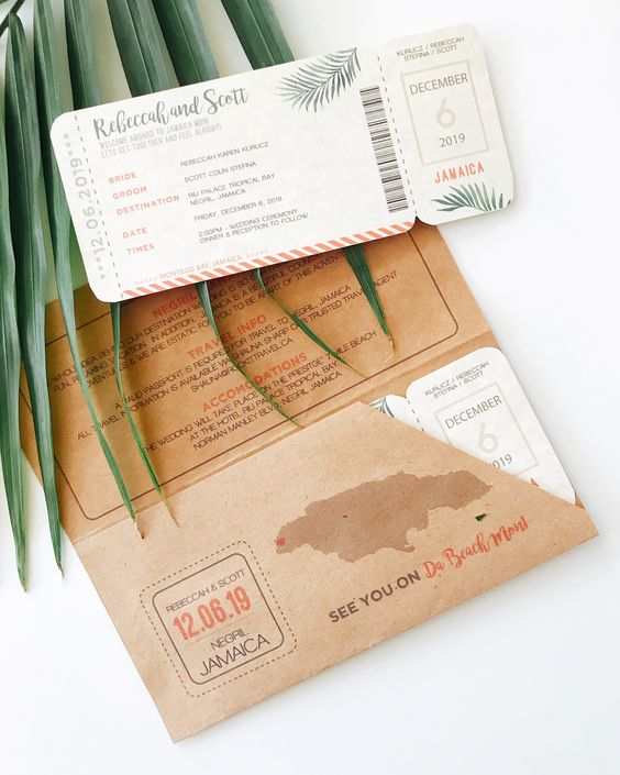 Boarding Pass + matching envelope holder for wedding invitation! This one was done for a wedding in Jamaica but can be customized for any destination. #destinationwedding #boardingpassinvitation