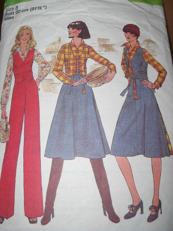 1970's Vintage Retro Simplicity Vest, Blouse, Pants and ...