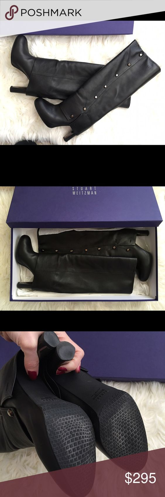 """EUC Stuart Weitzman SPATS Leather Knee-High Boot Excellent USED Condition. Worn a handful of times. Color: Black. U.S. Women's Size: 5.5. As seen on Nicole Scherzinger. Hematite {dark silver} button detailing. Fold-over button-detail creates a pant leg effect. Embellished hematite plate on inside of heel {see pic 4}. Heel height: 4"""". Hidden platform height: 1"""". Shaft height: 14"""". Pull-on style - no zips. Stuart Weitzman initial-stamped rubber sole. Made in Spain. Includes original Stuart…"""