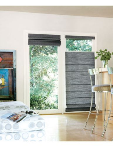 Patio door wall window covering roman shade bottom up for Window treatments for door walls