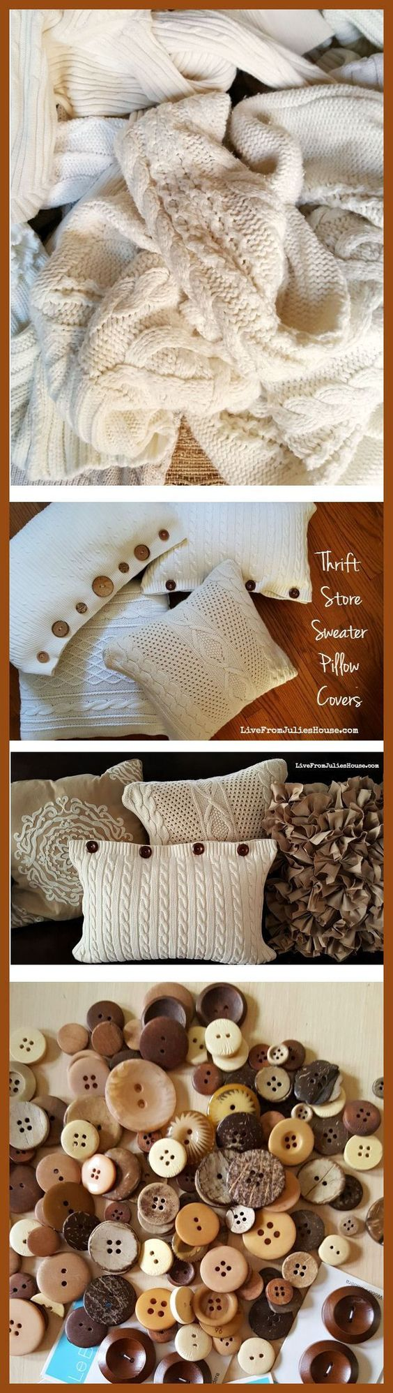 Thrift Store Sweater Pillow Covers  - Create cozy pillow covers out of thrift store sweaters with my easy tutorial - no major sewing skills required!