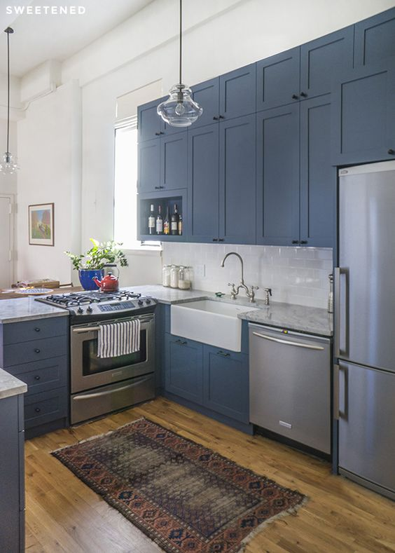 Apt Kitchen Renovations: Farm House Sink, Quartzite Countertops And Wood Cabinets