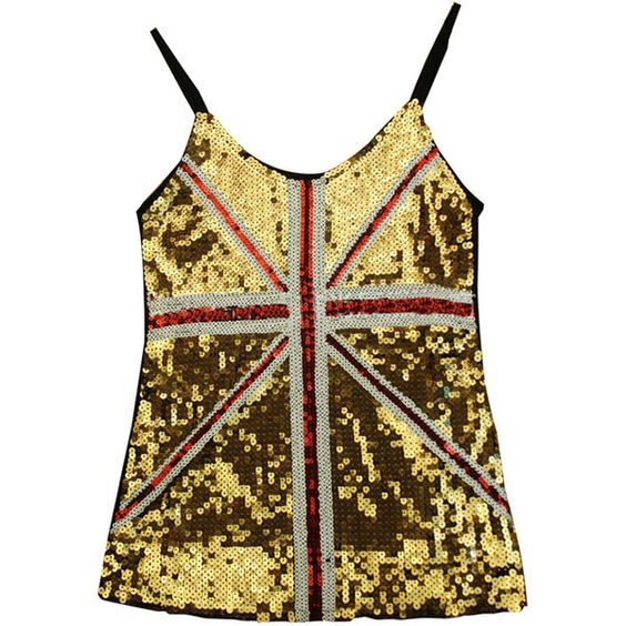 Gold Ladies Sequined Mesh Flag Printed Tank Top ($13) ❤ liked on Polyvore featuring tops, gold, mesh top, sequin top, gold top, gold sequin top and brown tops