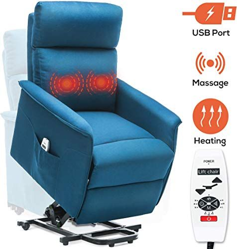 Amazing Offer On Ergoreal Power Lift Recliner Elderly Electric Lift Chairs Heat Massage Fabric Lift Chair Usb Port Side Pocket Blue Green Online Topusa In 2020 Lift Recliners Lift Chairs