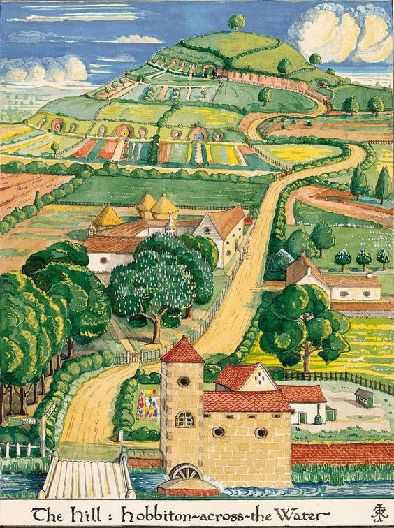 'Middle Earth: The hill, Hobbiton-Across the-Water' (1930's) by English author and illustrator JRR Tolkien (1892-1973). Tolkien was also a gifted illustrator as well as author, creating abstract and subtly beautiful works of art.