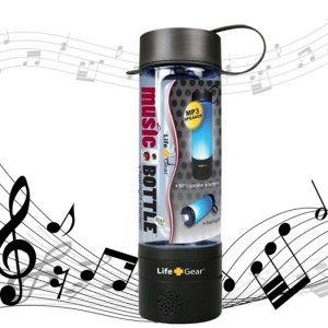 music playing, flashlight water bottle.