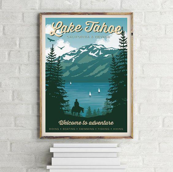 Cartel Vintage Lago Tahoe Viaje Nevada por GraphicHomeDesign