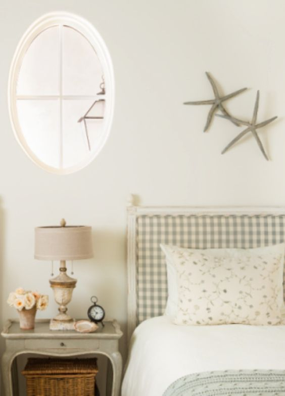 Modern Farmhouse Style Bedroom | Giannetti Home | Blue and White Checks | Swedish Antiques | Oval Window | Romantic bedroom | Beach house bedroom | Aqua Blue Bedroom | Gingham Upholstery