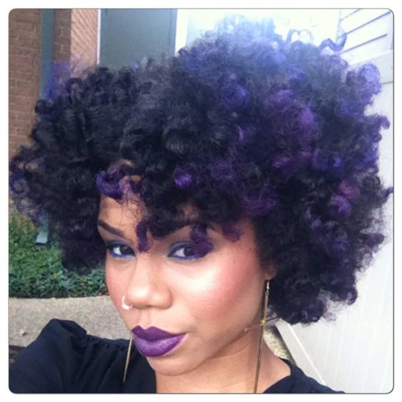 Natural hair | purple highlights