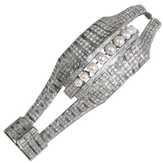 on bklyncontessa :: via bernardo antichita :: art deco pearl + diamond bracelet :: circa 1925