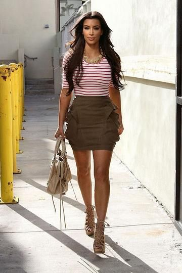 cute outfit by kim kardashian (skirt, taupe, nude lace-up heels ...
