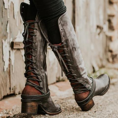 Women Vintage Lace Up Boots European