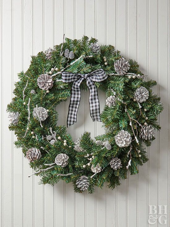 Add Farmhouse Style To Your Front Door With This Black And White Wreath Christmas Wreaths Homemade Christmas Wreaths Christmas Swags