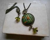 """Hobbit Door Necklace, Hand Sculpted Green Door with Hinges and Knob, 18"""" Chain, Antique Vintage Brass Components... so cool :)"""