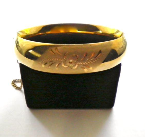 Golden Vintage Floral Design Clamper Bracelet by JoolsForYou, $28.50