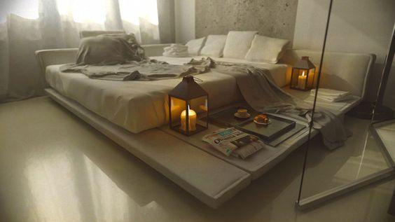 Aunque no es el típico futón japones no es extraño ver cada vez más dormitorios occidentales adaptandose a las tendencias llegadas de Oriente.