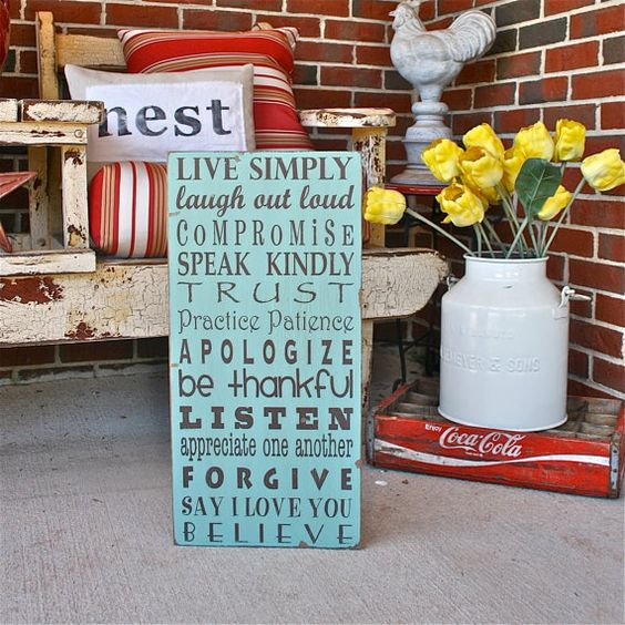 Cool words to live by rustic signs