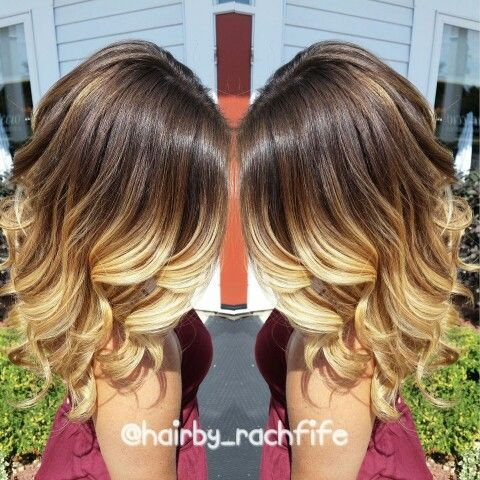 Gorgeous color melt ombre! Achieved using an ombre highlight and balayage technique with olaplex! Soft Beachy curls to enhance the gorgeous color! Hair by