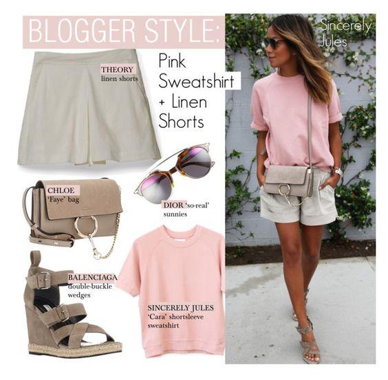"""Blogger Style-Pink Sweatshirt + Linen Shorts"" by kusja ❤ liked on Polyvore"