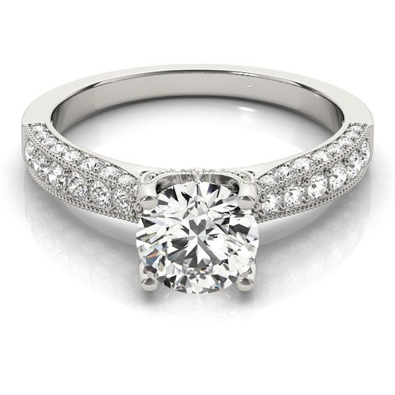 Engagement Ring -Cathedral Diamond Vintage Engagement Ring-ES1827 (38,505 HNL) ❤ liked on Polyvore featuring jewelry, rings, diamond jewelry, vintage jewellery, vintage jewelry, band engagement rings and diamond engagement rings