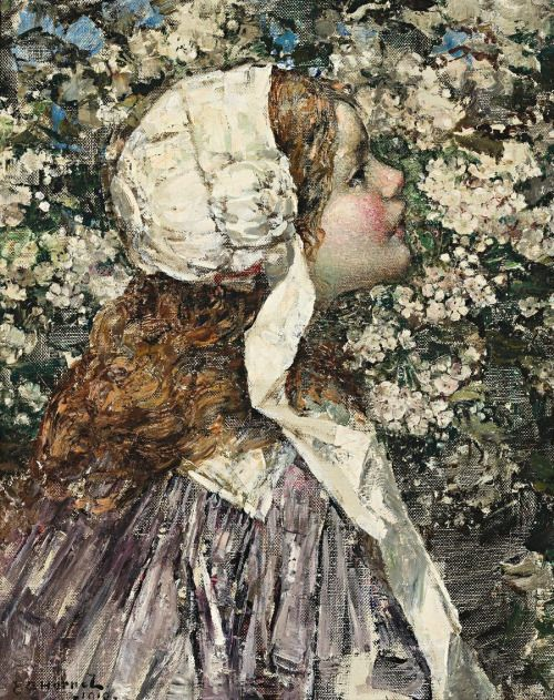Girl in Spring Blossoms - Edward Atkinson Hornel  1910:
