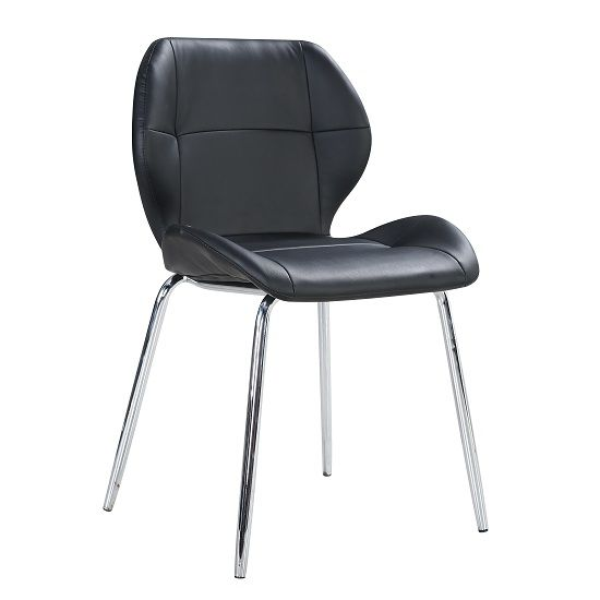 Darcy Dining Chair In Black Faux Leather With Chrome Legs In 2020