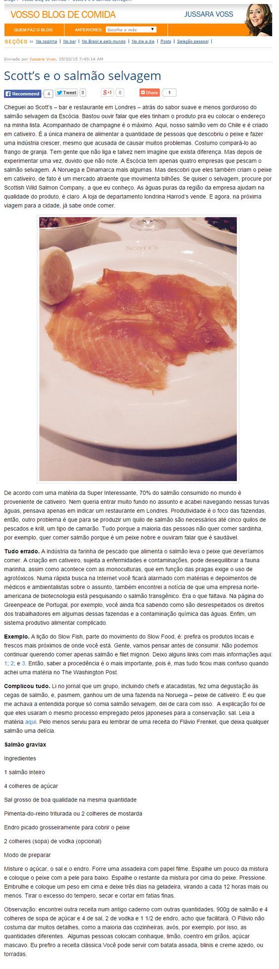 Gazeta do Povo Online - 25/02/2015 Scott's e o salmão selvagem