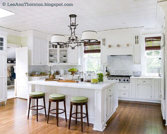 white kitchen pops of green