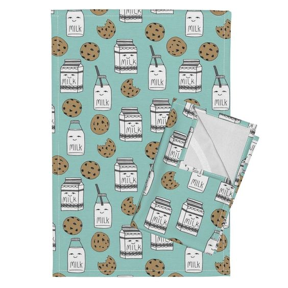 Orpington Tea Towels featuring milk and cookies // mint food kids nursery baby kids by andrea_lauren   Roostery Home Decor