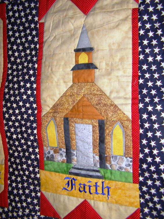 Freedom and Faith Quilted Wallhanging by HillbillyHandiworks, $10.00