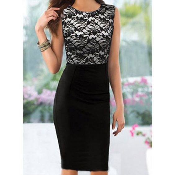 Wholesale Ladylike Round Neck Sleeveless Spliced Bodycon Women's Dress Only $5.58 Drop Shipping | TrendsGal.com