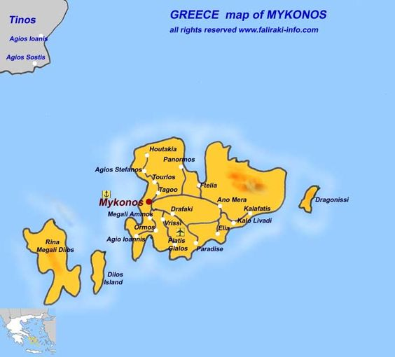 mykonos greece map Google Search world locator Pinterest