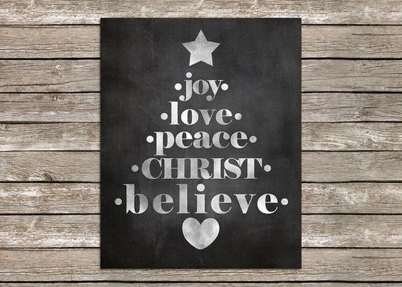 8 x 10 Chalk Word Art Christmas Tree Print by PolkadotPrintCompany.