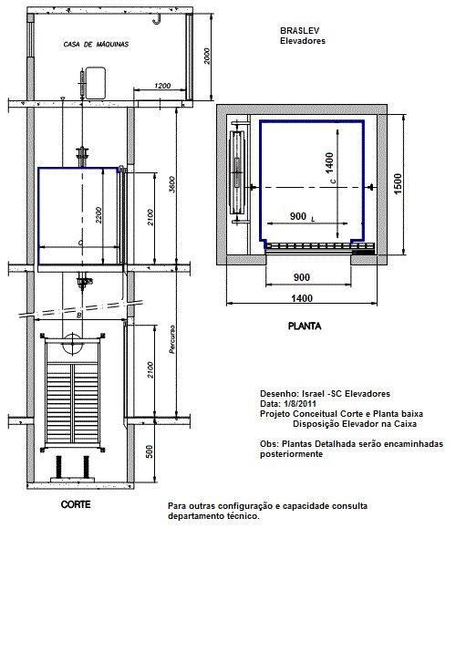 corte conceitual e planta | elevador braslev