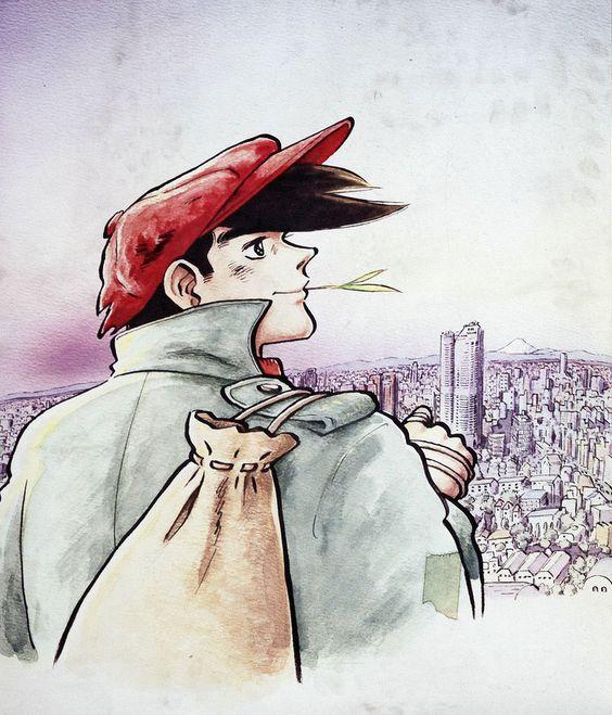 赤いハンチングとコートで草を咥えて街を眺めている矢吹丈のあしたのジョーの壁紙