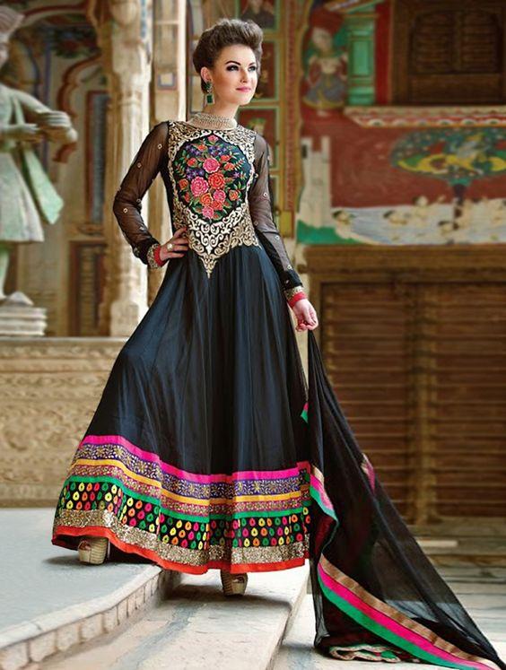 Designer Black Embroidered Top-Net Anarkali Suit With Matching Santoon Bottom & Chiffon Dupatta.