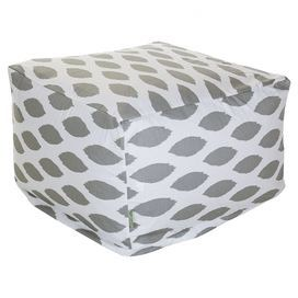 "Square pouf in storm gray with an ikat motif and eco-friendly beanbag fill.  Product: PoufConstruction Material: Outdoor treated polyester cover, recycled polystyrene beads and waterproof denier baseColor: Storm grayFeatures: Suitable for indoor and outdoor useZippered slipcoverMade in USADimensions: 17"" H x 27"" W x 27"" WCleaning and Care: Machine wash cover warm, tumble dry low or air dry"