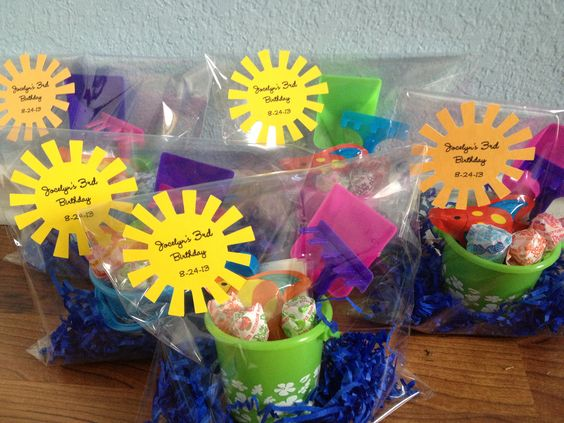 Beach bucket party favors for summer birthdays water