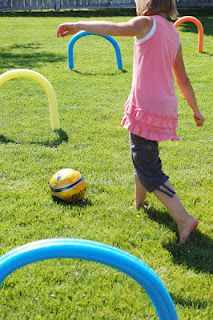 Pool noodle games. Great way to practice ball skills or kid friendly croquet!